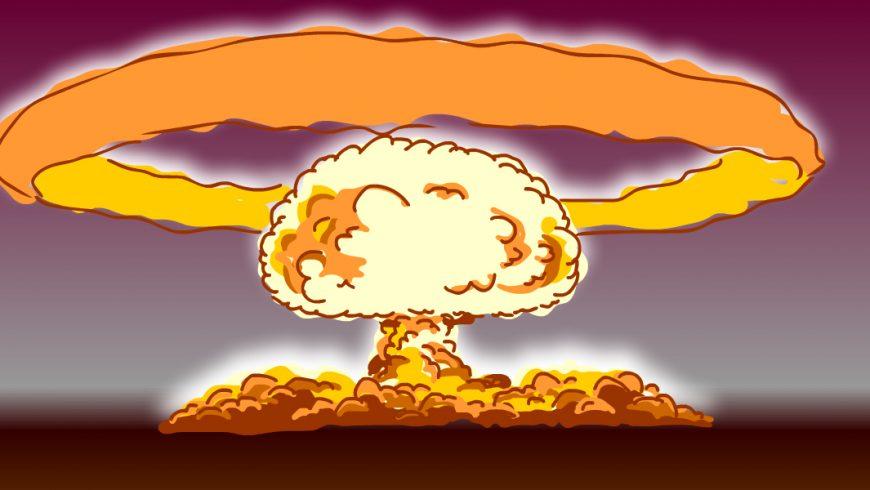 Ilustração. Fundo com o céu em tom escuro e a terra marrom. Ao centro tem uma explosão na cor alaranjada. A explosão forma uma nuvem e um arco em volta da nuvem.