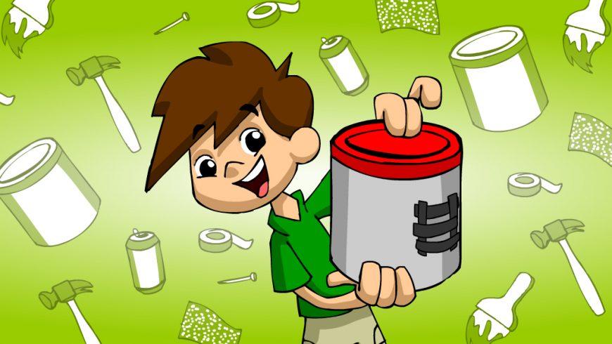 Ilustração. Imagem com fundo verde claro com vários materiais compondo todo o desenho. São latas de alumínio, pincéis, pregos, fitas, papéis fotográficos e latas de refrigerante. Ao centro está Zé Plenarinho, que segura uma lata de alumínio cinza com a tampa vermelha e um detalhe, feito com fita preta.