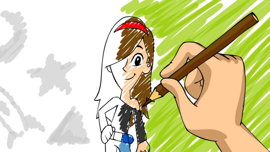 No lado direito da imagem aparece uma grande mão que pinta, com um lápis marrom, os cabelos de Cida, que aparece no centro desenhada, com metade do corpo pintado, metade não. No lado esquerdo da imagem, aparecem desenhos de sol, estrela, foguetes na cor cinza.