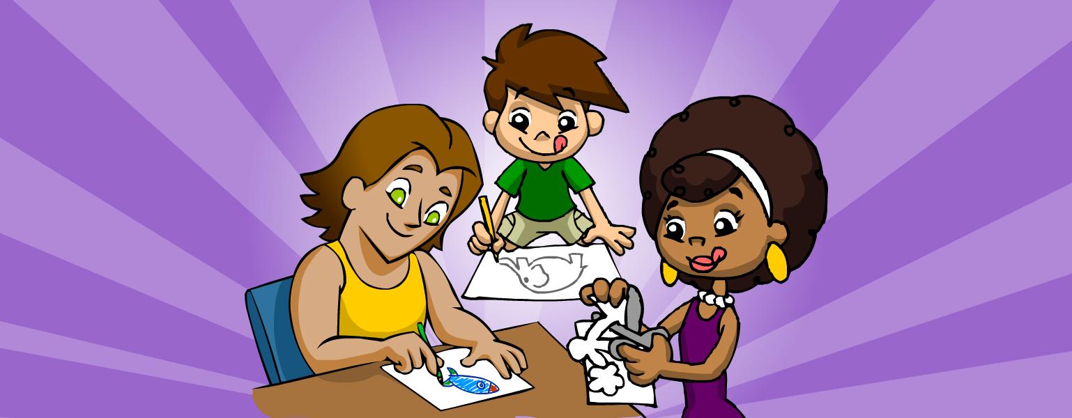 Nessa imagem temos o fundo roxo, com listras roxas mais claras. Ao centro da imagem apoiando-se em uma mesa está o Zé Plenarinho desenhando um elefante, à esquerda tem o Vital colorindo um foguete, já à direita está a Légis recortando figuras de um papel.