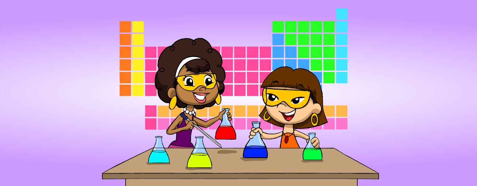 Fundo lilás, com uma tabela periódica centralizada. Légis à esquerda, Xereta à direita, ambas com uns óculos de lentes amarelas, seguram frascos com líquidos coloridos. Légis tem, em uma das mãos, uma pipeta. Os frascos estão apoiados em uma mesa.