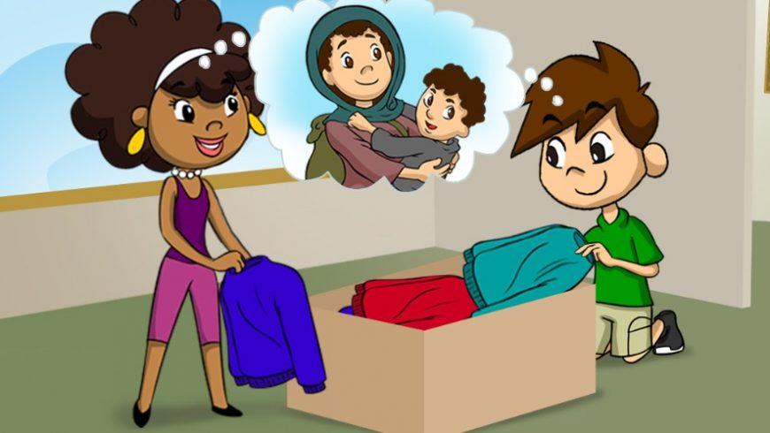 Ilustração. Ana Légis e Zé Plenarinho estão no centro da imagem. Eles colocam roupas em uma caixa de papelão. Da cabeça dos dois sai um balão de pensamento. No balão. a imagem de uma mulher com uma criança no colo.