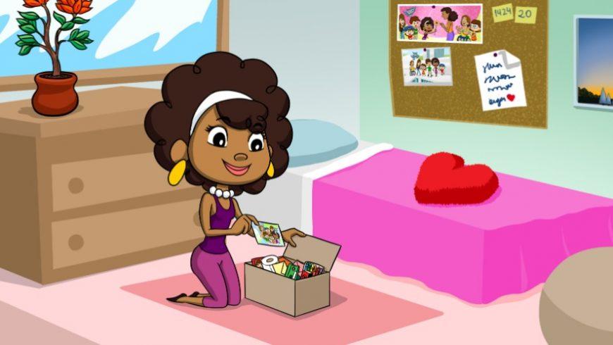 Ilustração de um quarto com uma cama com uma colcha cor de rosa, quadros na parede, flores em um vaso. No centro da imagem, ajoelhada sobre um tapete rosa claro está Ana Légis. Ela sorri enquanto guarda vários itens em uma caixa de papelão.