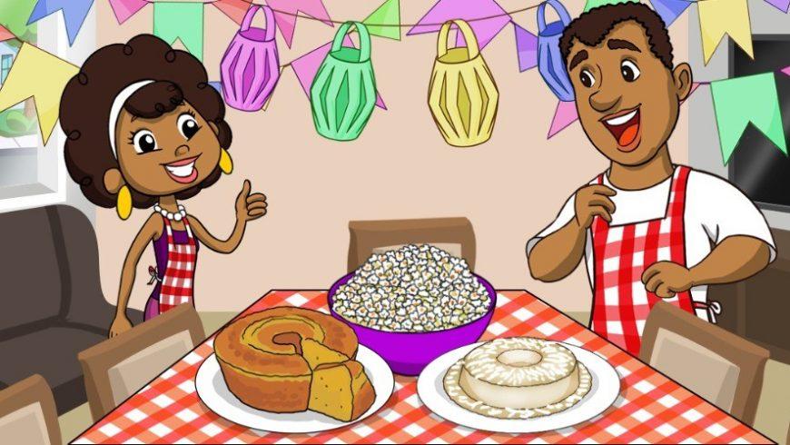 Ilustração de cida e seu pai alegres, ambos de avental quadriculado branco e vermelho. Eles estão na sala da casa decorada com bandeirinhas de festa junina em frente a uma grande mesa. Sobre a mesa, uma grande tijela de pipoca, um bolo com um pedaço cortado e um pudim branco.