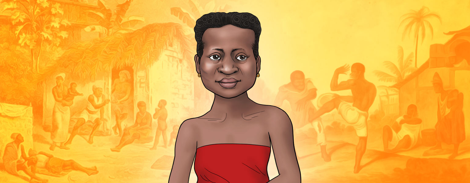 Ilustração com fundo em tons de amarelo e laranja. No centro da imagem, da cintura para cima, aparece uma mulher negra, de cabelos pretos e presos. Ela sorri e veste uma blusa vermelha sem alças e sem mangas.