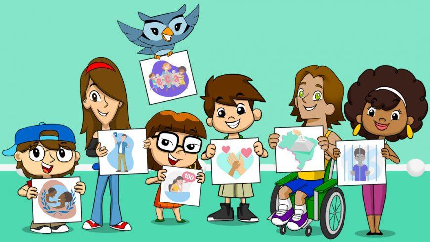 Ilustração de fundo verde. No centro, cada personagem da Turma do Plenarinho segura um desenho que representa aspectos da legislação para crianças e adolescentes.
