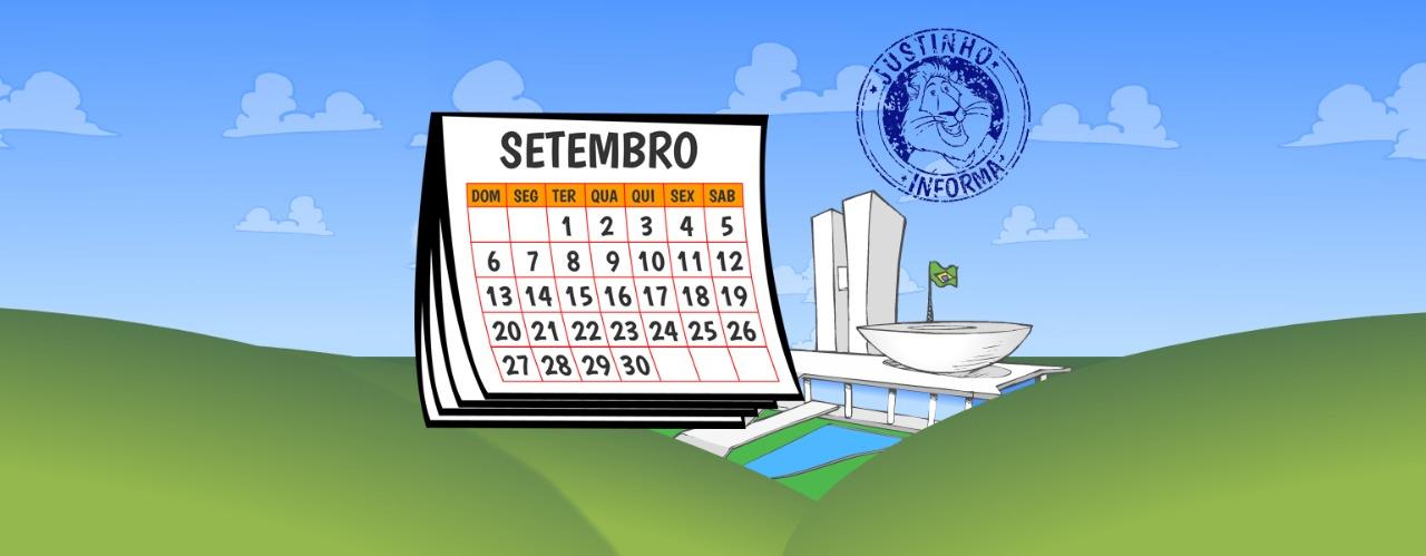 Ilustração do Congresso Nacional no meio de uma paisagem de campo verde e céu azul. Do lado do Congresso, aparece um calendário aberto na página do mês de setembro.