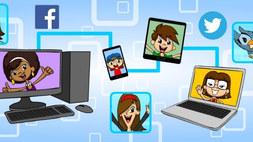 Ilustração. Fundo azul. Computadores, tablets, celulares, cada um com um personagem da turma aparecem interligados por uma linha azul. Espalhados pela imagem estão ícones das redes sociais: Facebook, Whatsapp, Instagram e Twitter.