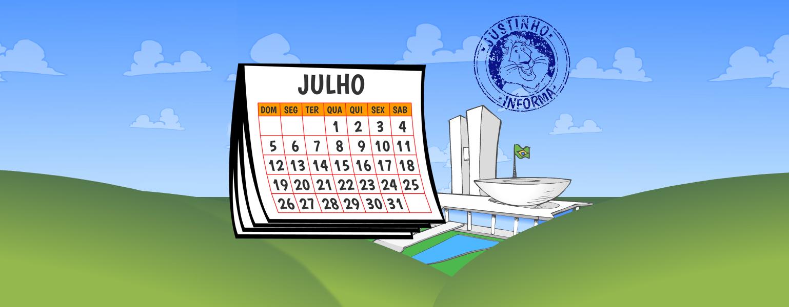 Ilustração do Congresso Nacional no meio de uma paisagem de campo verde e céu azul. Do lado do Congresso, aparece um calendário aberto na página do mês de julho.