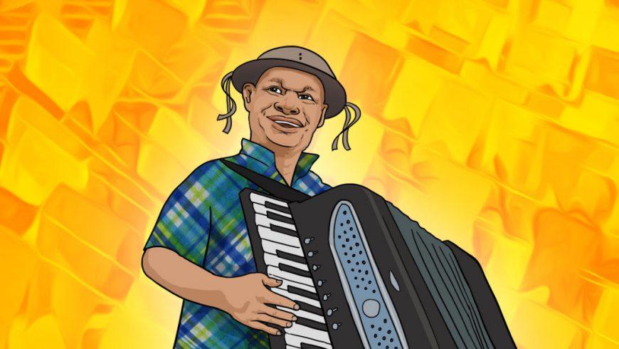 No centro da ilustração com fundo em tons de amarelo, há um homem de pele parda, chapéu marrom e camisa xadrez. Ele olha levemente para o lado esquerdo da imagem, sorri e segura um acordeon.