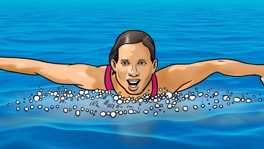 Ilustração de uma mulher saindo da água com os dois braços erguidos do lado do corpo. Ela veste maiô rosa e está com a boca semi aberta.