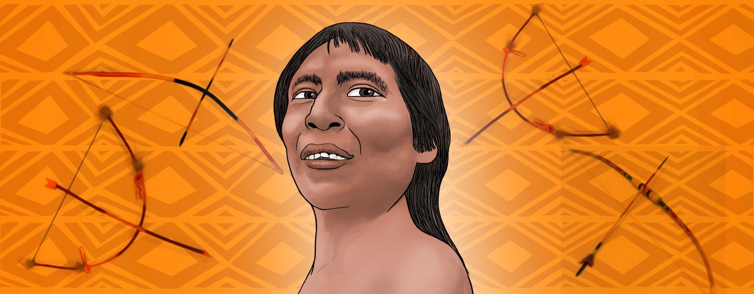 Ilustração. Fundo em tons de laranja, com desenhos de arco e flecha espalhados. No centro, contém um homem, do ombro para cima. Ele tem cabelos pretos, compridos, com franja. Tem pele parda e olhos castanhos.