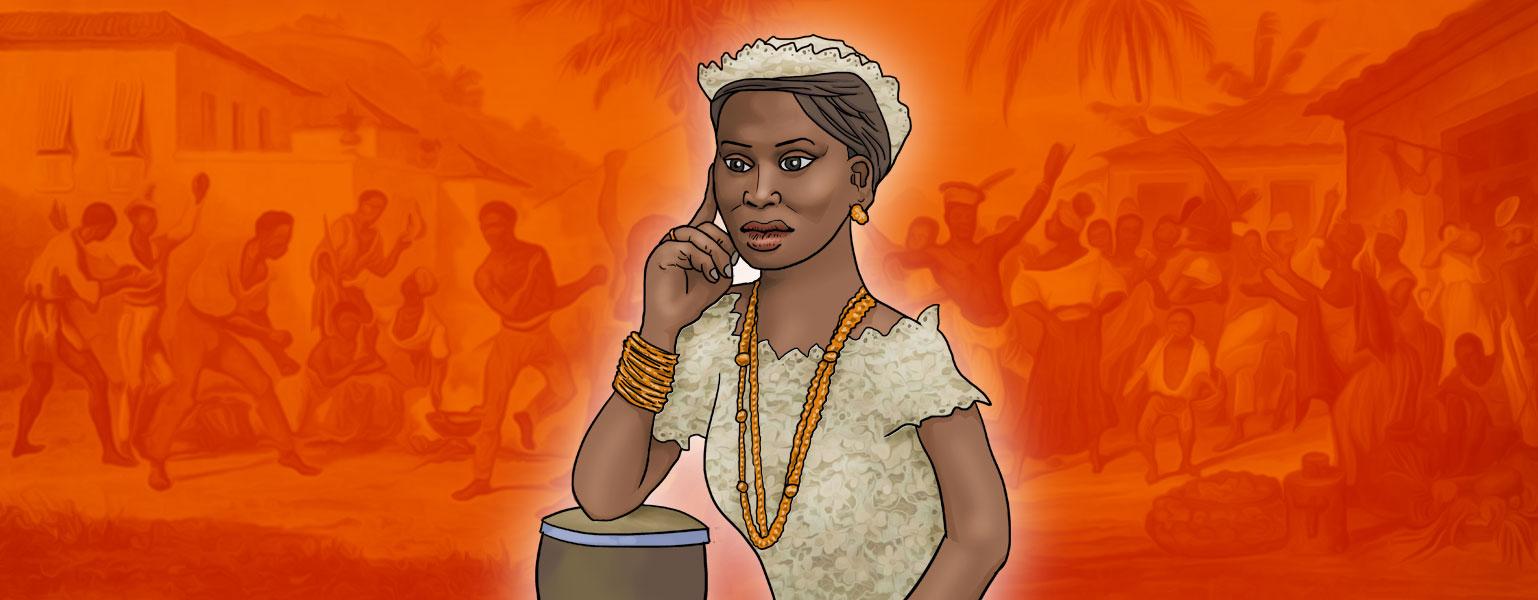 Ilustração com fundo em tons de cor de laranja. No centro, há uma mulher negra, com um adereço feito de tecido bege na cabeça e vestido bege de renda, colares e pulseiras cor de laranja. . A expressão dela é séria e uma de suas mãos toca seu rosto.