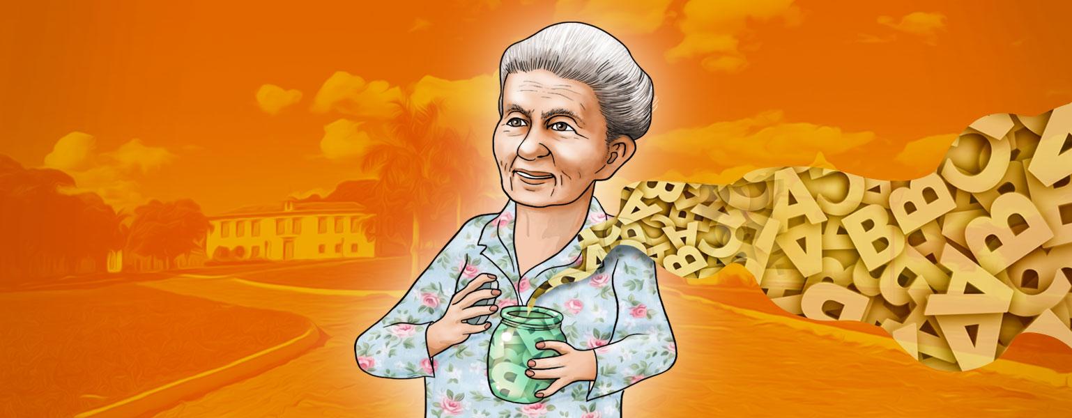 Ilustração com fundo em tons de cor de laranja. No centro, uma mulher idosa de cabelos grisalhos presos para trás. Tem pele clara, com rugas espalhadas pelo rosto e sorri. Ela veste roupa florida em tons claros e segura um jarro de onde saem letras que se espalham pela imagem.