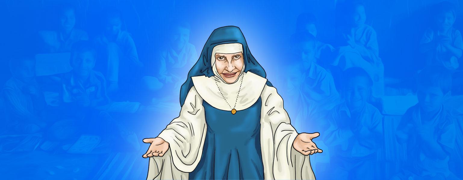 Ilustração. Fundo em tons de azul mostra sutilmente crianças sorrindo. No centro da imagem, uma freira com hábito azul e branco sorri levemente e ergue os braços ao lado do corpo com as palmas das mãos viradas para cima.