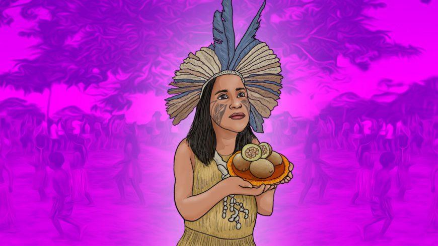Ilustração de fundo em tons de rosa e roxo. No centro da imagem, há uma mulher de pele parda, cabelos na altura do ombro castanhos. Ela usa um grande cocar de penas azuis e beges, seu rosto está pintado com grafismos de cor escura. Ela usa um vestido bege e segura um prato cor de laranja com frutas em cima.
