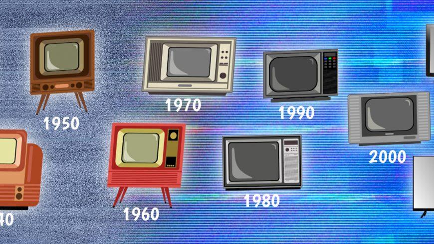 Ilustração de fundo em tons de azul. Espalhados pela imagem, aparecem vários modelos de aparelhos de televisão, começando pelos mais antigos do lado esquerdo da imagem e ficando mais modernos até o lado direito.
